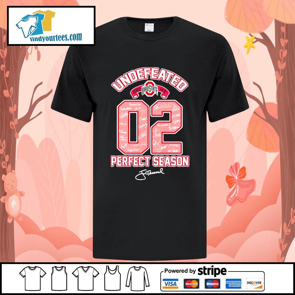 02 Ohio State Buckeyes undefeated perfect season signature shirt