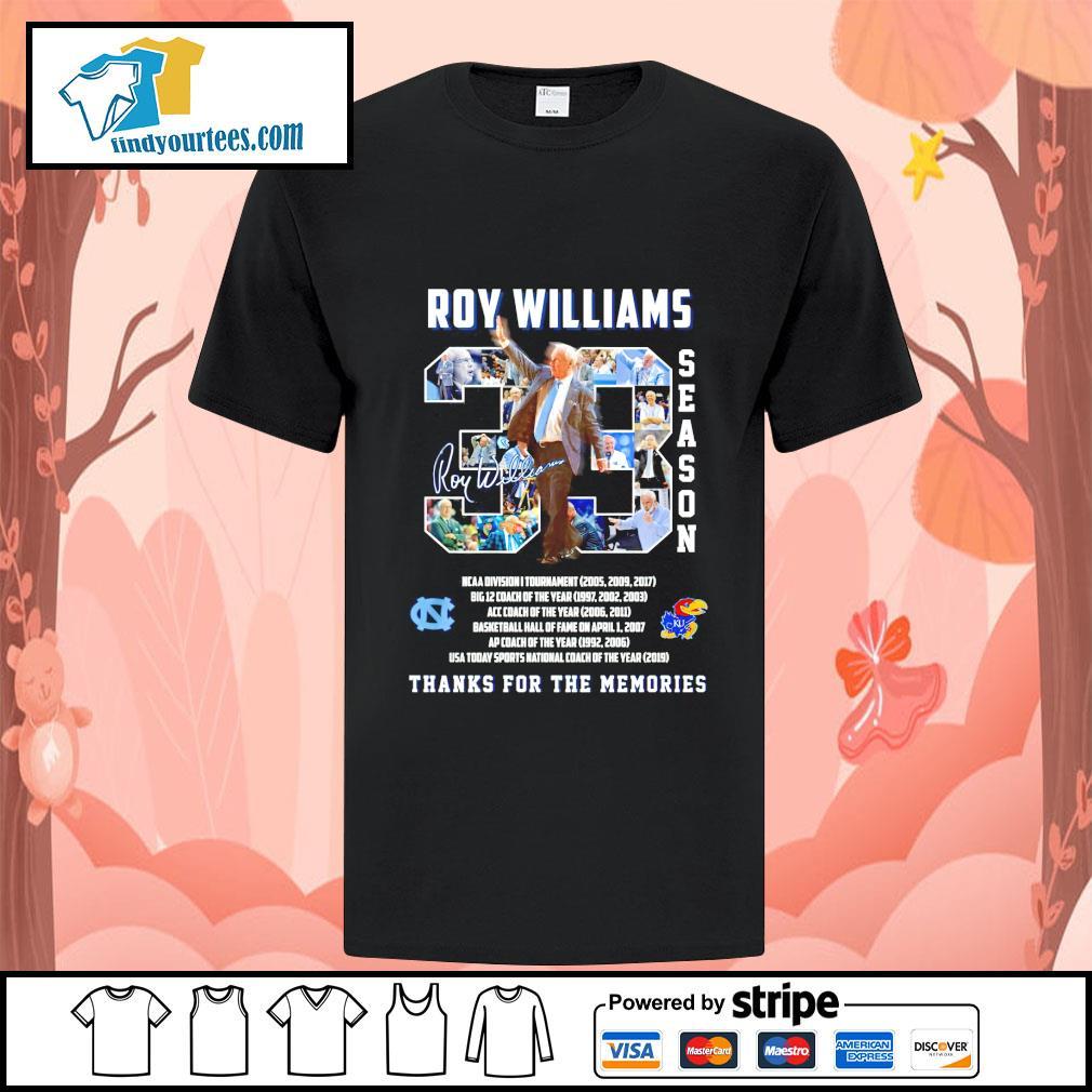 Roy Allen Williams 33 seasons thanks for the memories signature shirt
