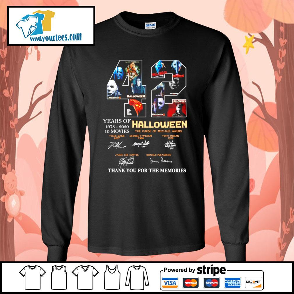 42 years of 1978 2020 10 movies Halloween thank you for the memories s Long-Sleeves-Tee