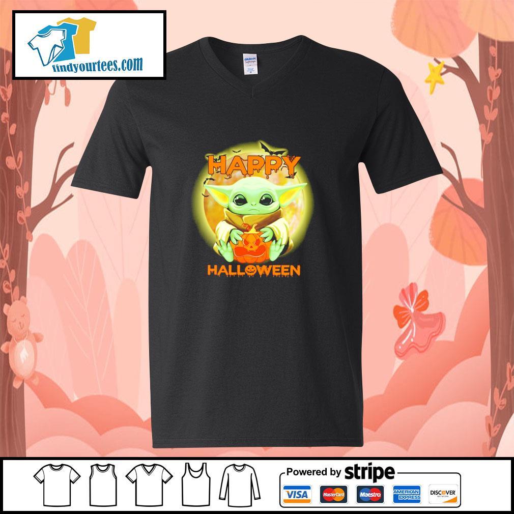 Baby yoda happy halloween s v-neck-t-shirt