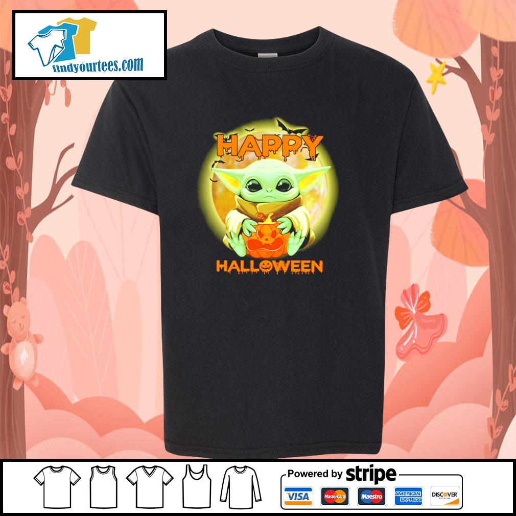Baby yoda happy halloween s youth-tee