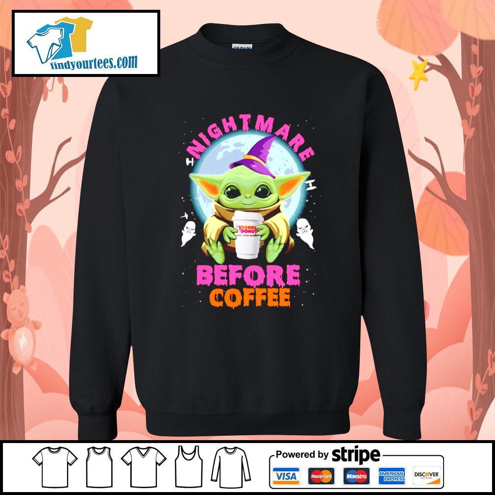 Baby Yoda nightmare before coffee Dunkin' Donuts Halloween s Sweater