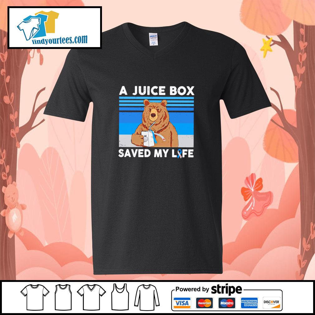 Bear a juice box saved my life gastric cancer s v-neck-t-shirt