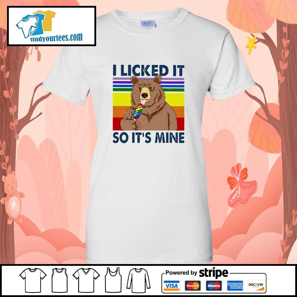 Bear I licked it so it's mine vintage s ladies-tee