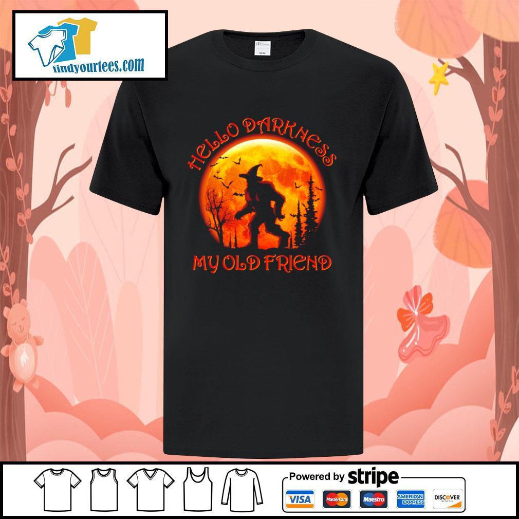 Bigfoot witch hello darkness my old friend halloween shirt