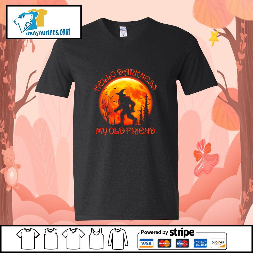 Bigfoot witch hello darkness my old friend halloween s v-neck-t-shirt