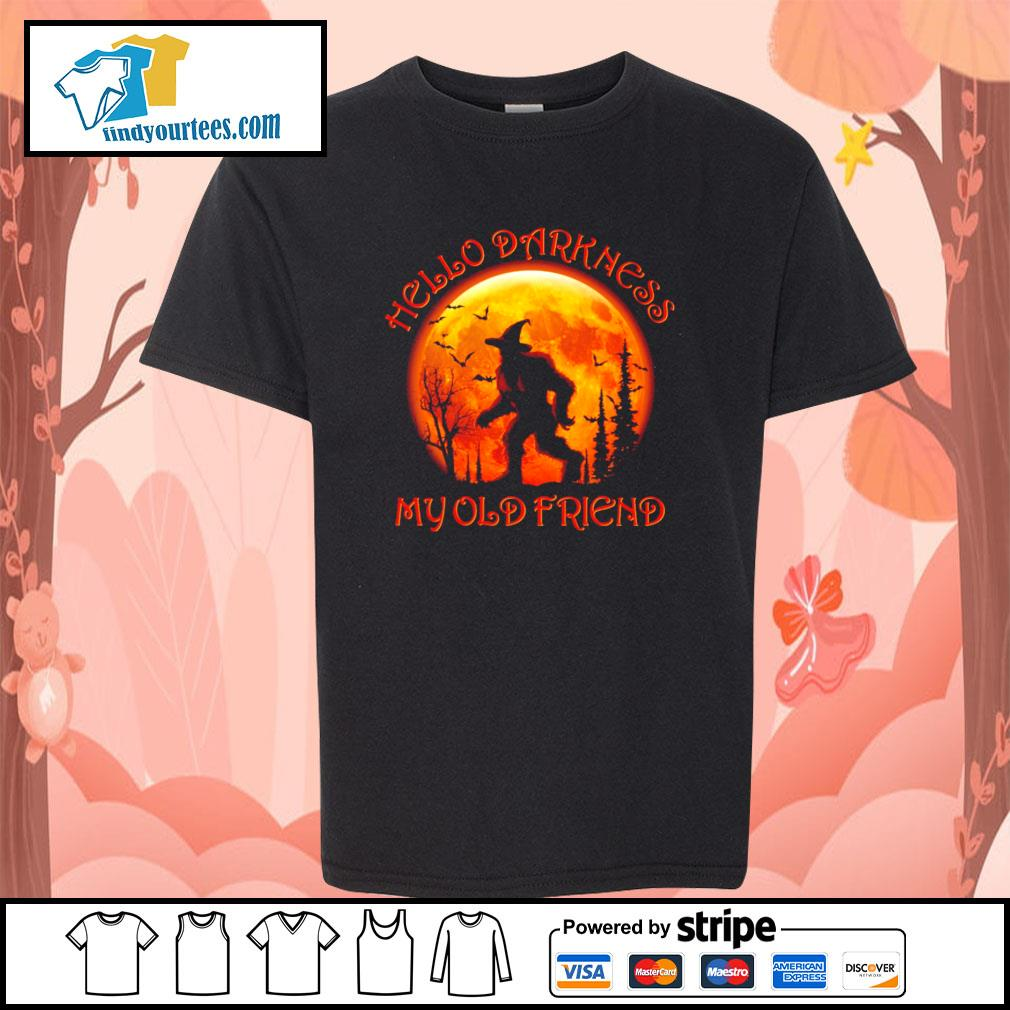 Bigfoot witch hello darkness my old friend halloween s youth-tee