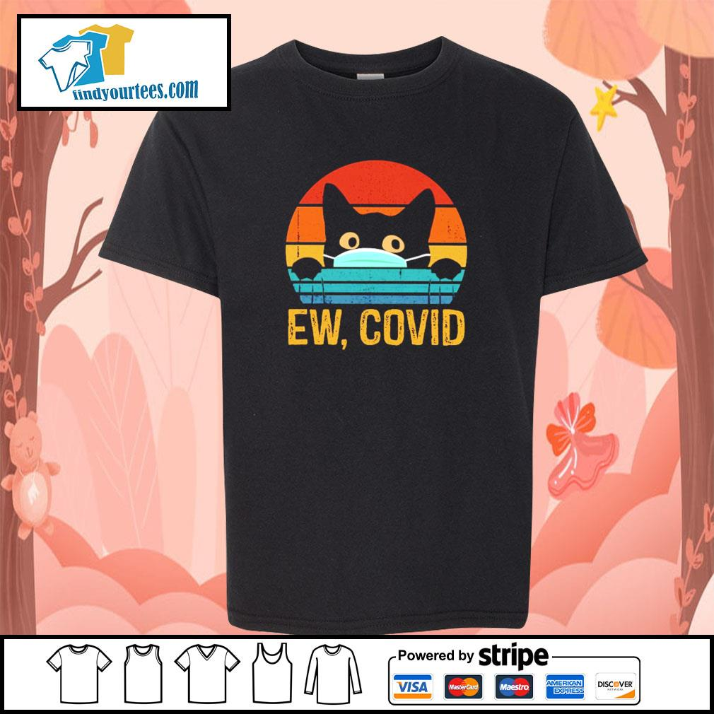 Black cat mask ew covid vintage s youth-tee