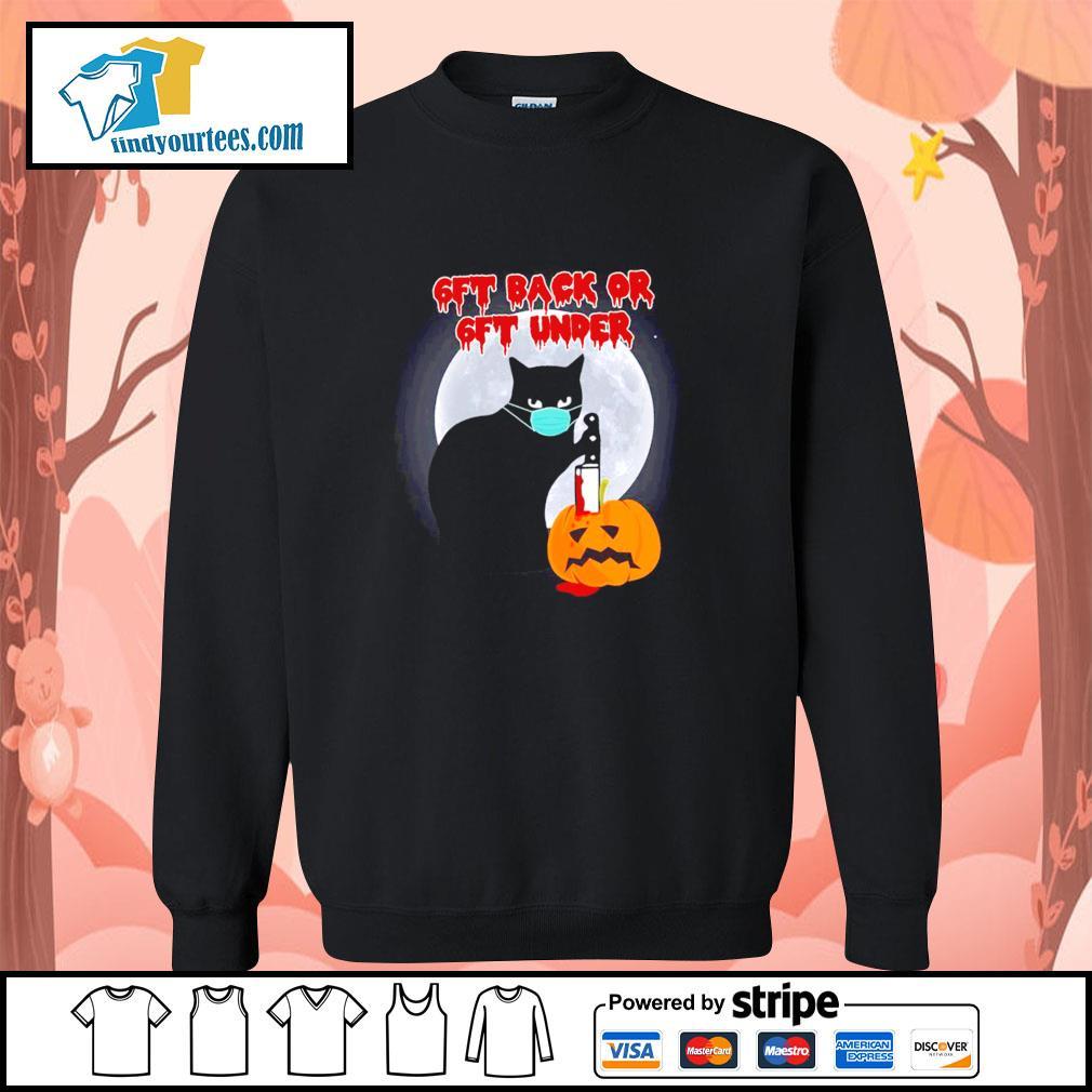 Black cat mask murder 6ft back or 6ft under pumpkin halloween s sweater