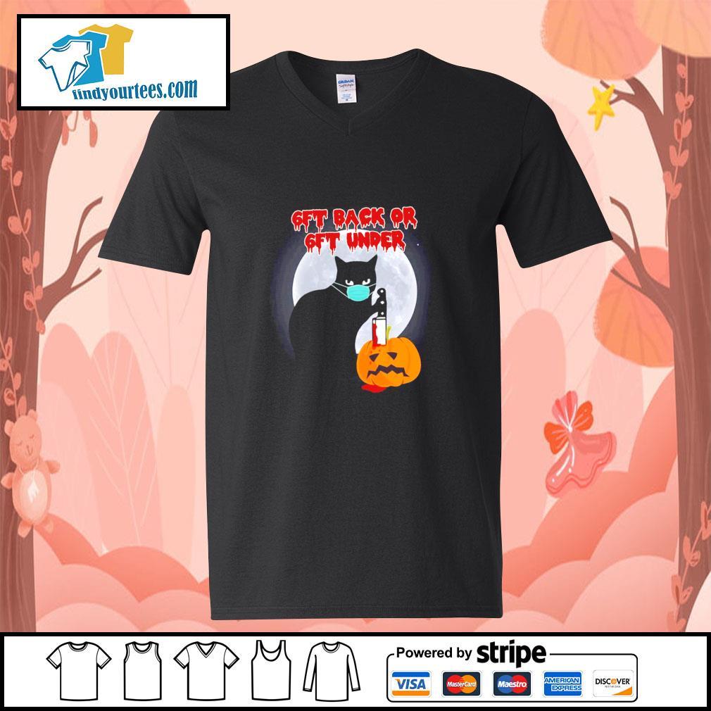 Black cat mask murder 6ft back or 6ft under pumpkin halloween s v-neck-t-shirt