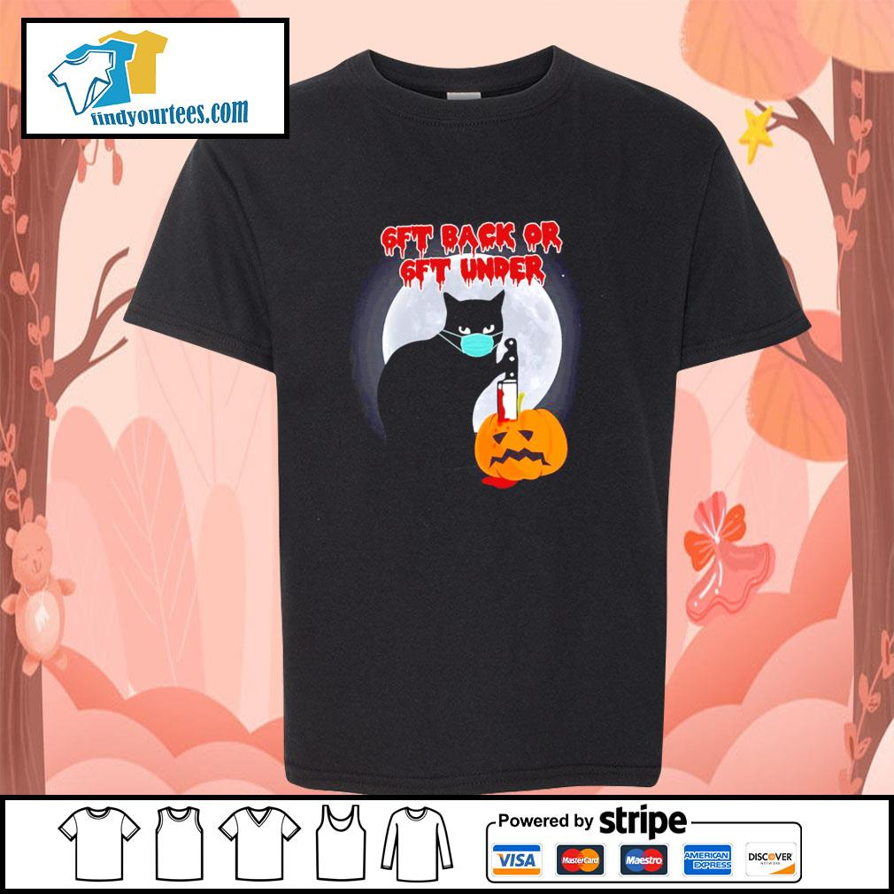 Black cat mask murder 6ft back or 6ft under pumpkin halloween s youth-tee