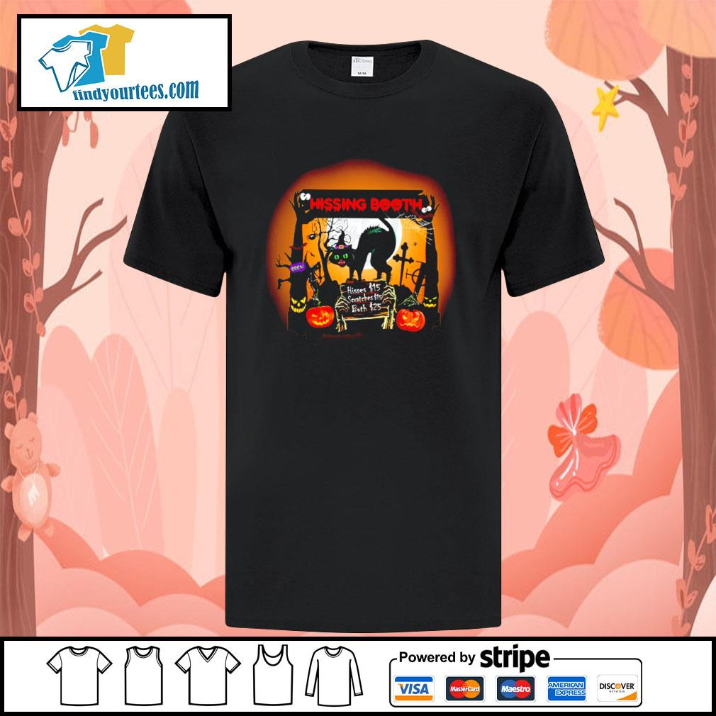 Black cat spooky hissing booth halloween shirt