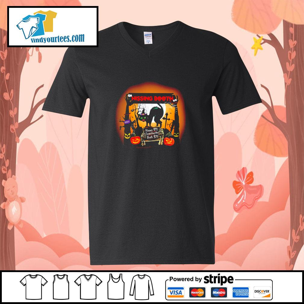 Black cat spooky hissing booth halloween s v-neck-t-shirt