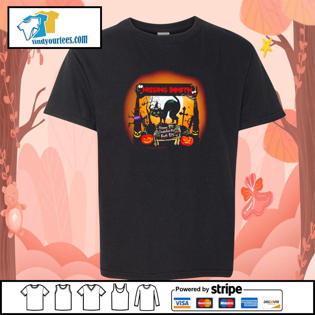 Black cat spooky hissing booth halloween s youth-tee