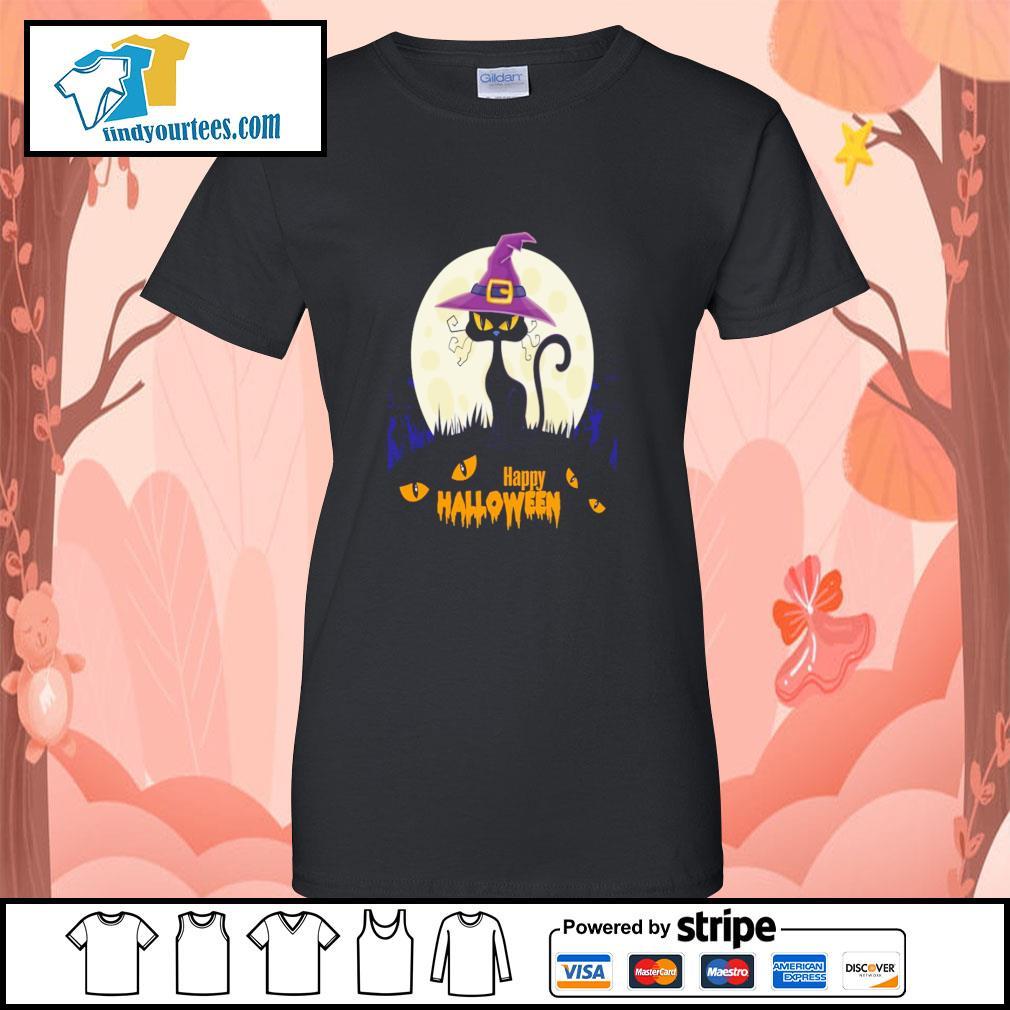 Black cat witch happy halloween s ladies-tee