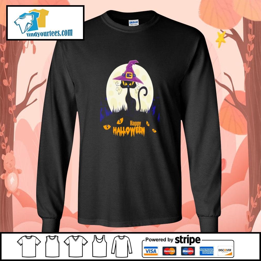 Black cat witch happy halloween s longsleeve-tee