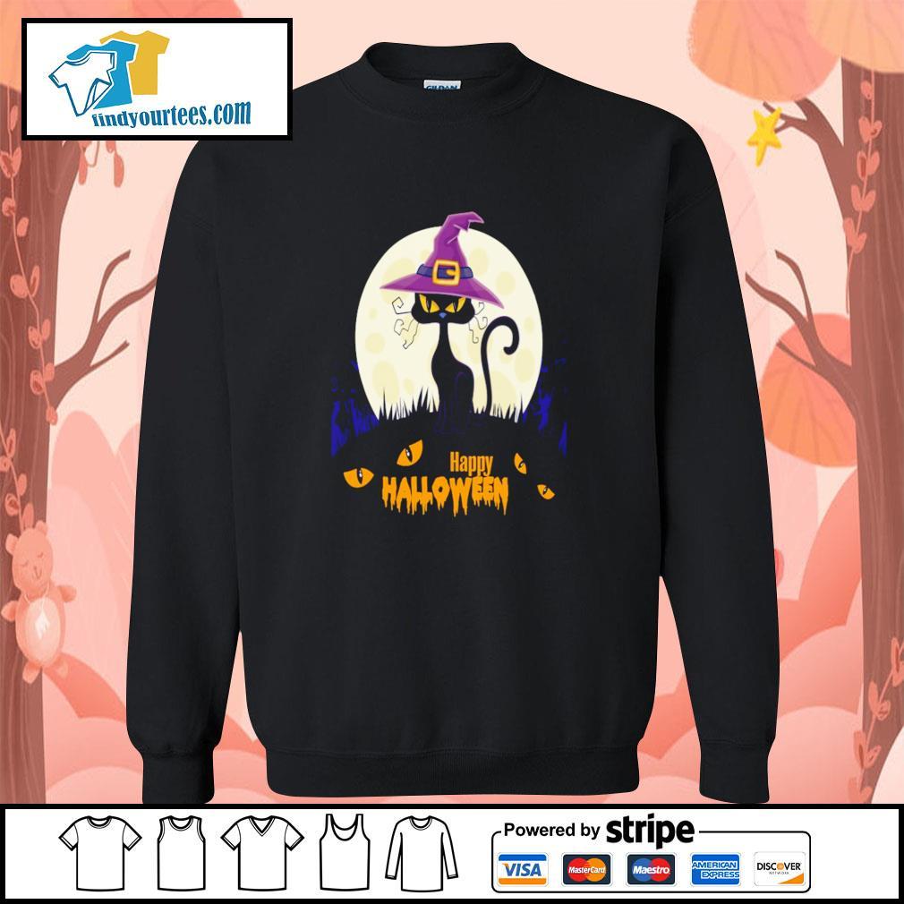 Black cat witch happy halloween s sweater