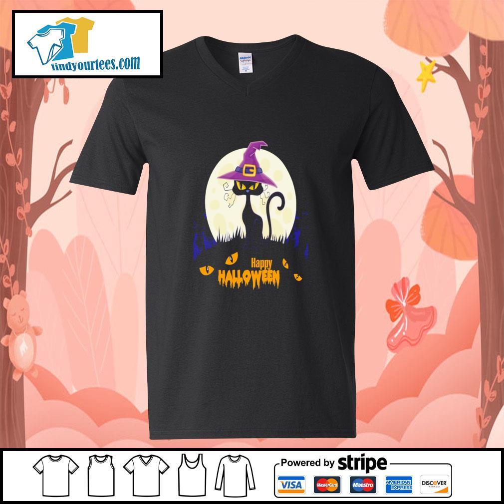Black cat witch happy halloween s v-neck-t-shirt