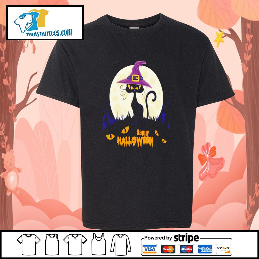 Black cat witch happy halloween s youth-tee