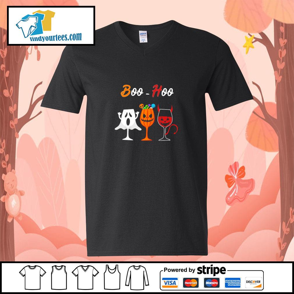 Boohoo ghost pumpkin wine halloween s v-neck-t-shirt