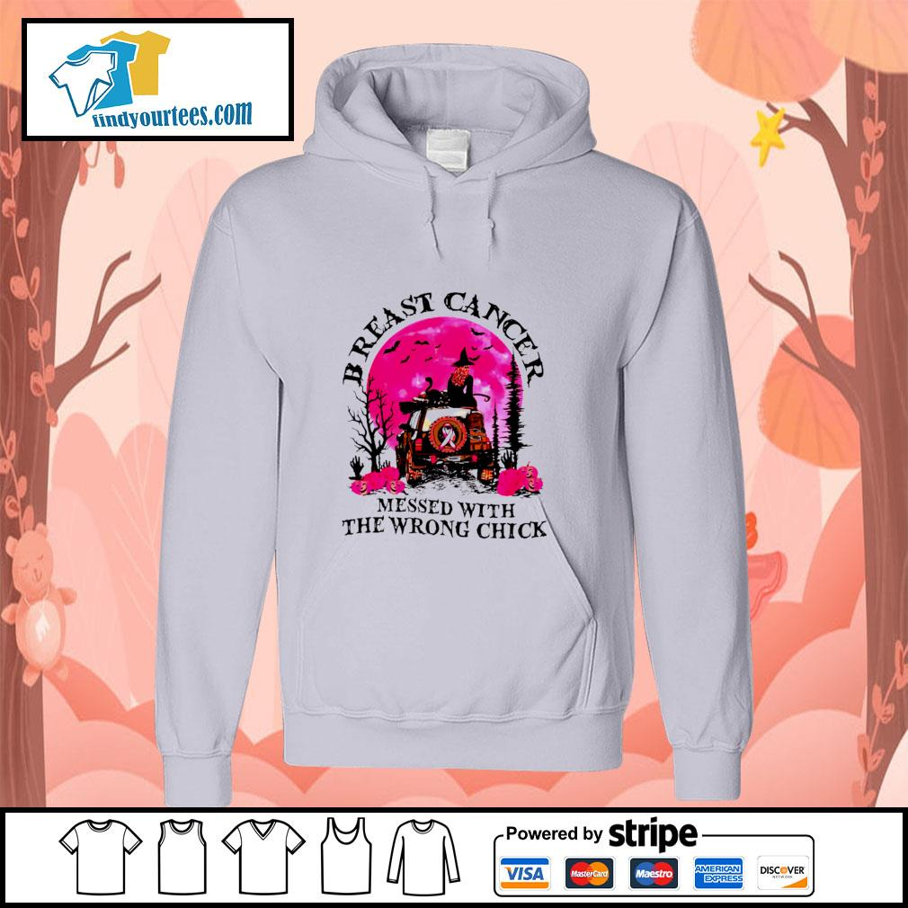 Breast cancer messed with the wrong chick halloween s hoodie