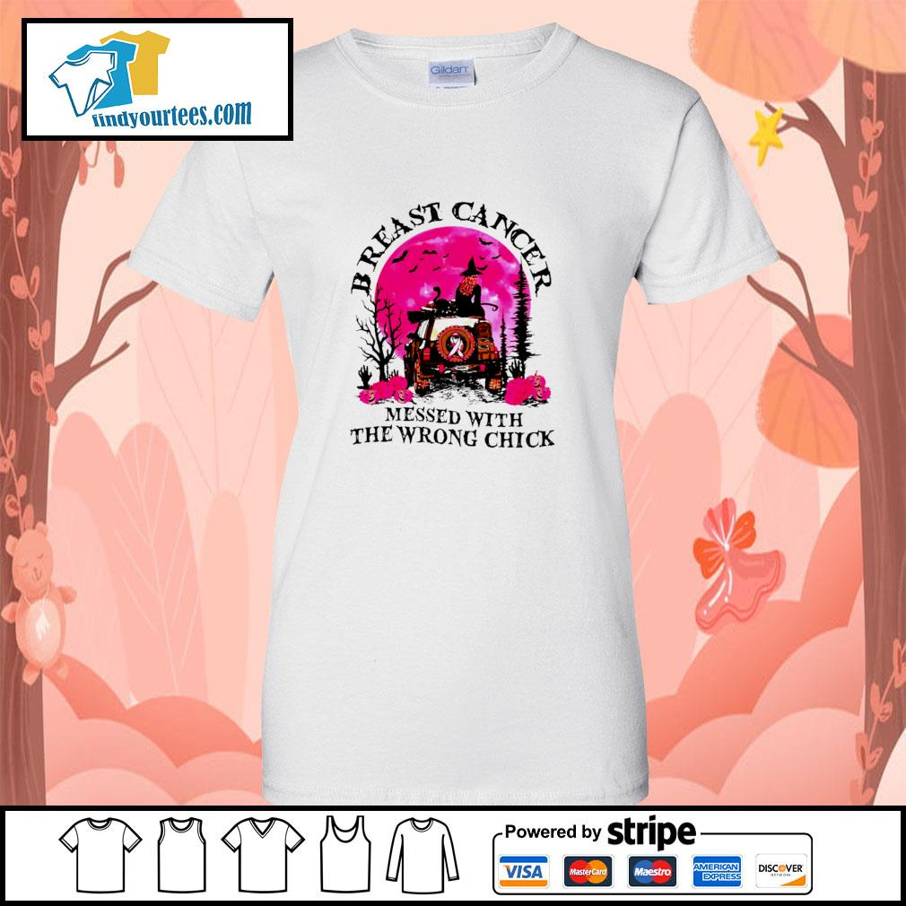 Breast cancer messed with the wrong chick halloween s ladies-tee