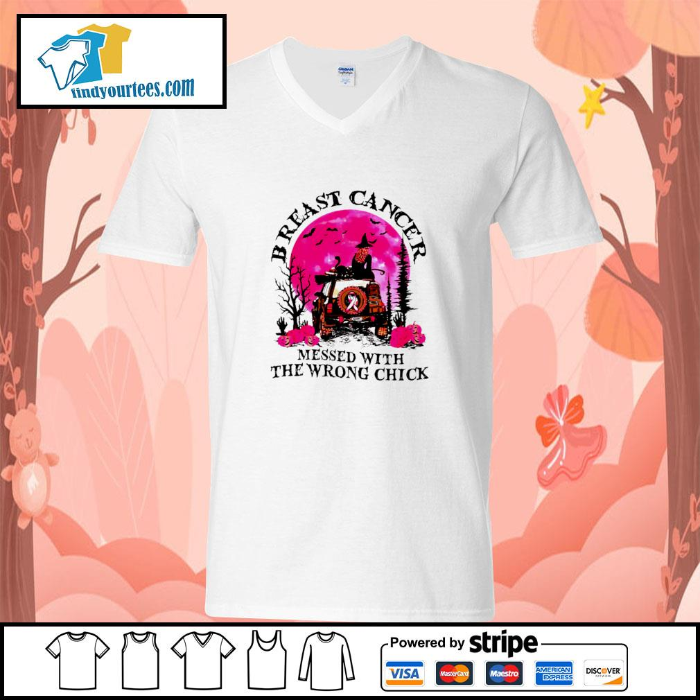 Breast cancer messed with the wrong chick halloween s v-neck-t-shirt
