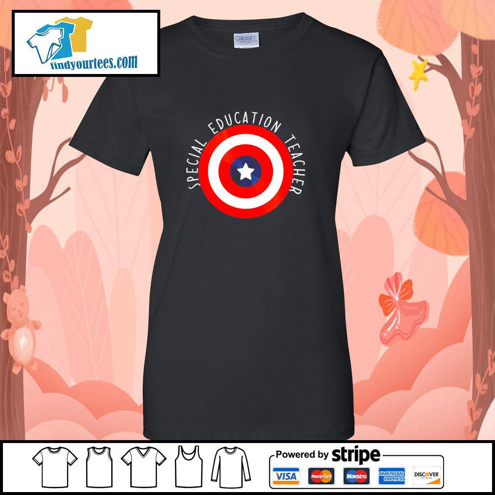 Captain america shield special education teacher s ladies-tee