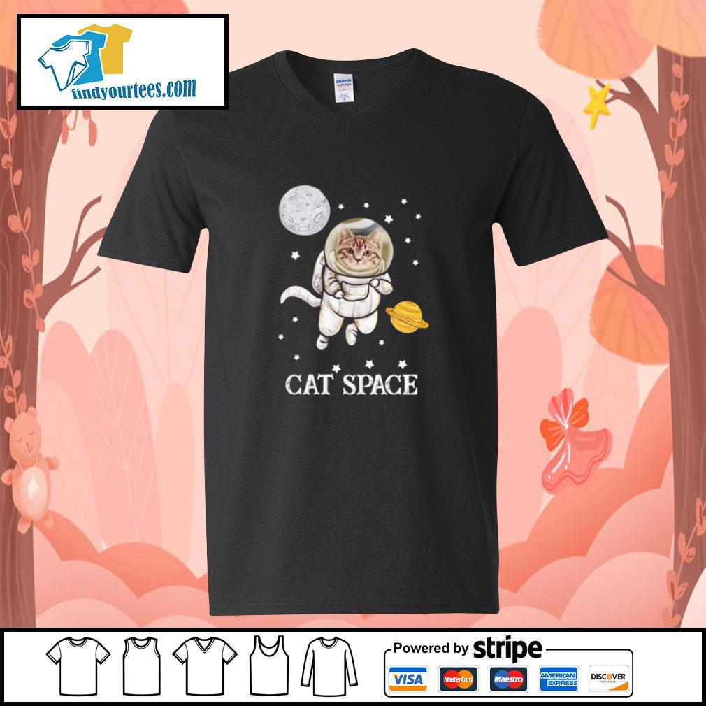Cat astronaut space s v-neck-t-shirt