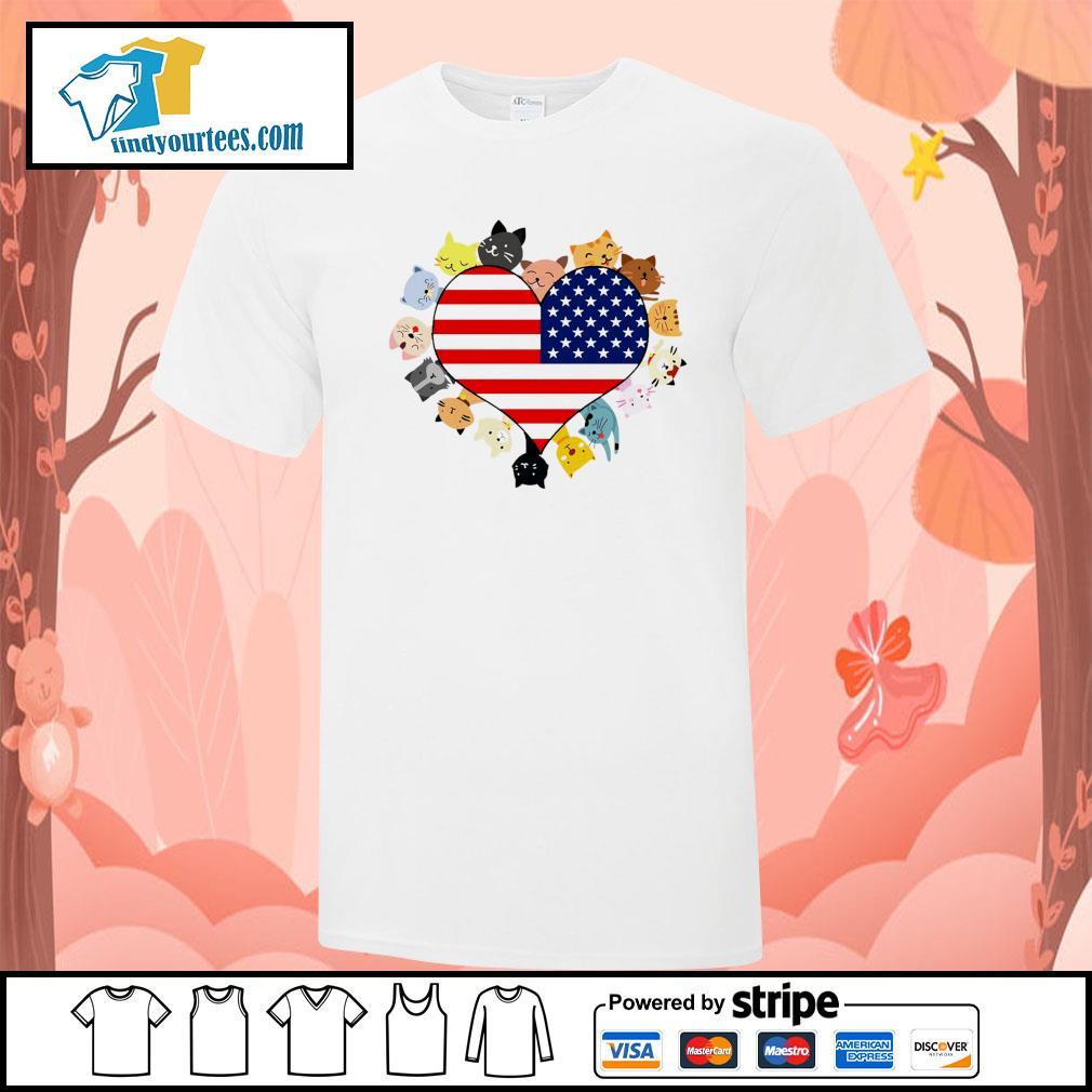Cat love black live matter american flag shirt