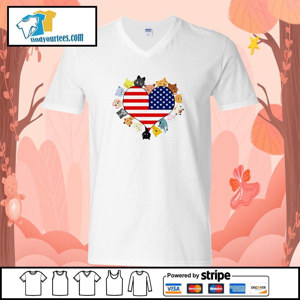 Cat love black live matter american flag s v-neck-t-shirt
