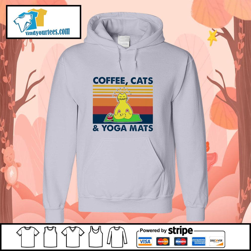 Coffee cats and yoga mats vintage s hoodie
