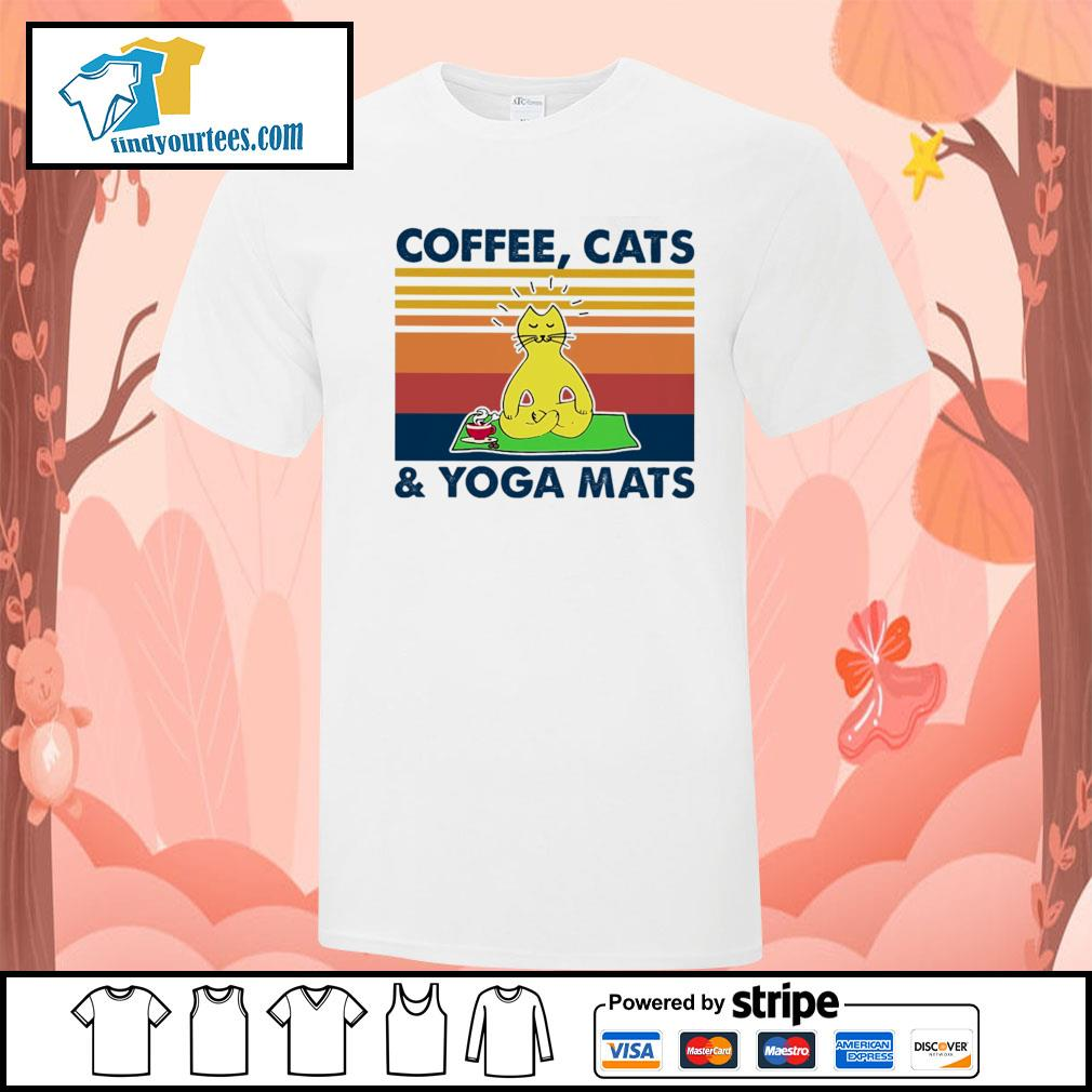 Coffee cats and yoga mats vintage shirt