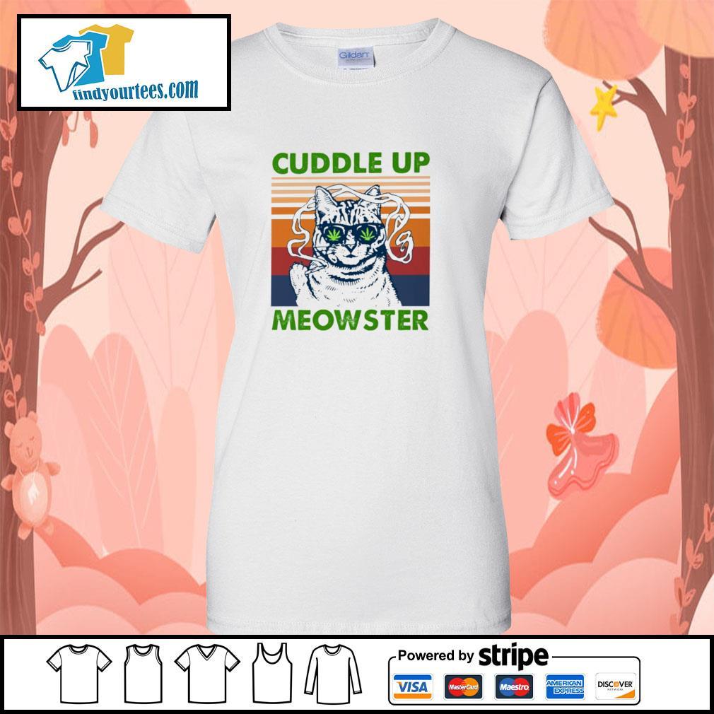 Cuddle up meowster weed vintage s ladies-tee