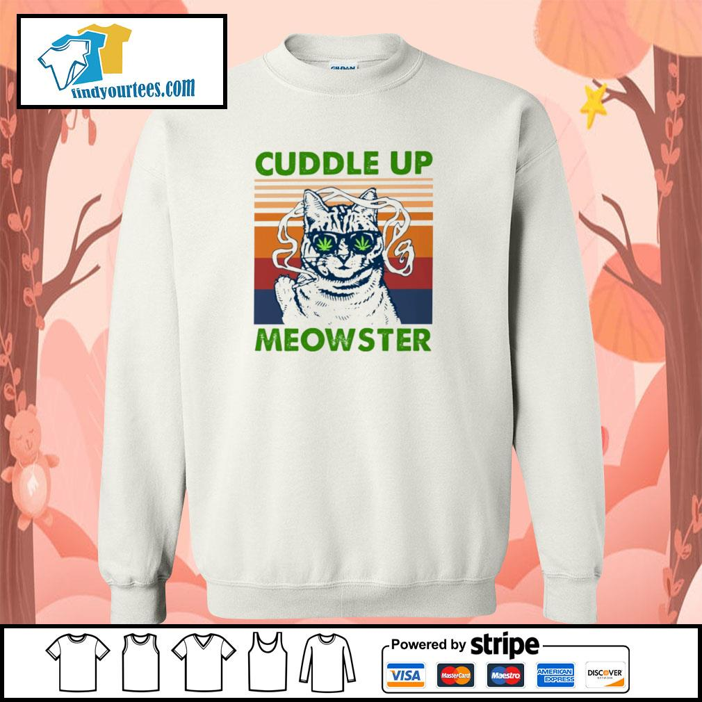 Cuddle up meowster weed vintage s sweater