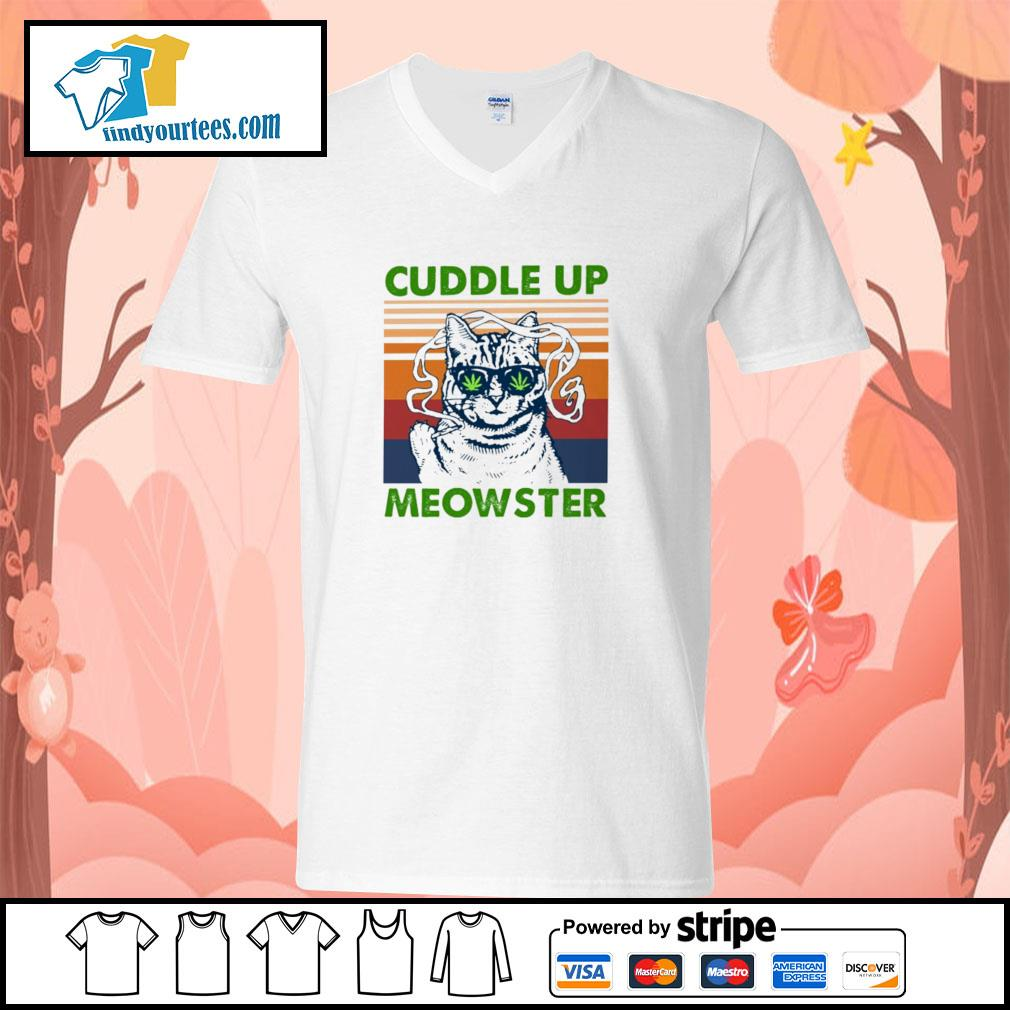 Cuddle up meowster weed vintage s v-neck-t-shirt