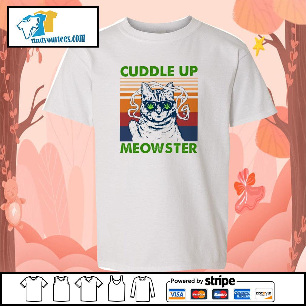 Cuddle up meowster weed vintage s youth-tee