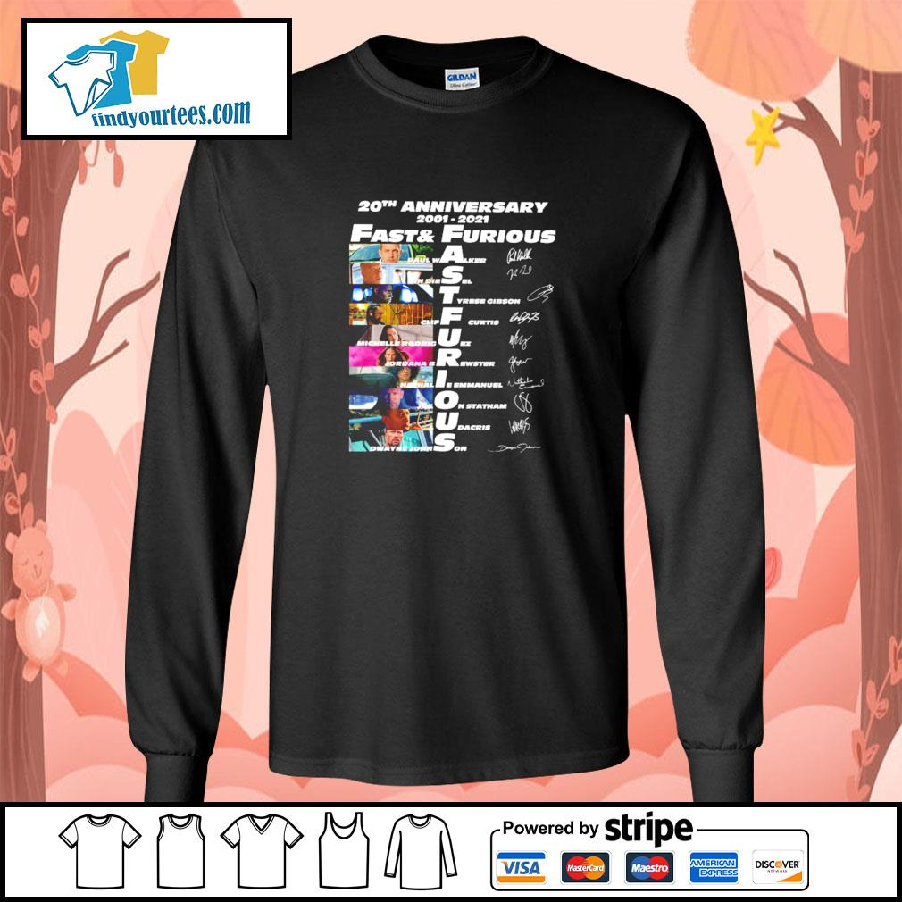 Fast and furious 20th anniversary 2001 2021 signature s longsleeve-tee