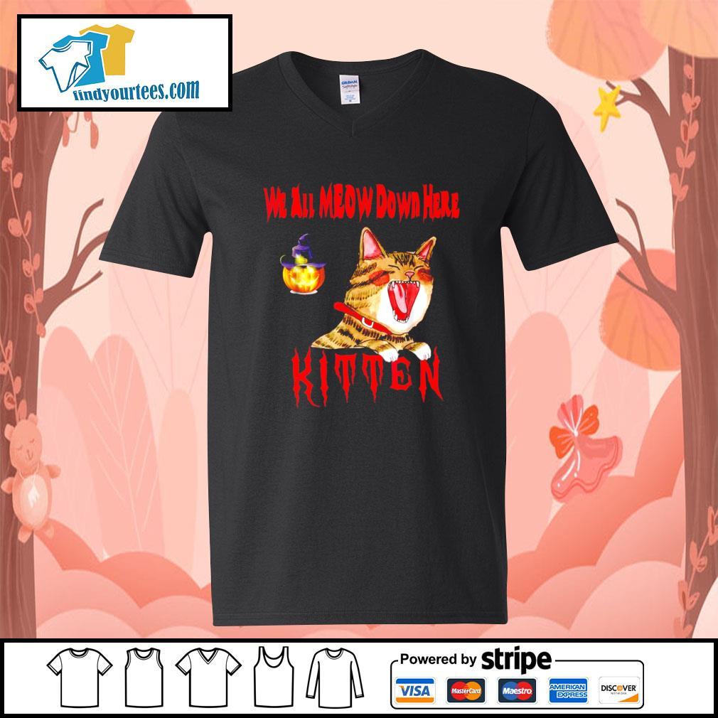Halloween Cat we all meow down here kitten s V-neck-T-shirt
