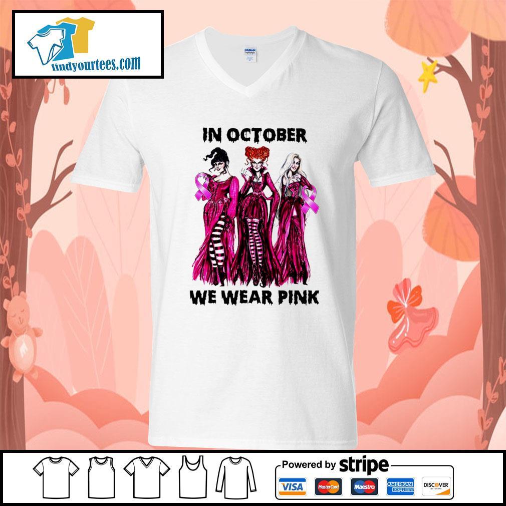 Hocus Pocus in october we wear pink s V-neck-T-shirt