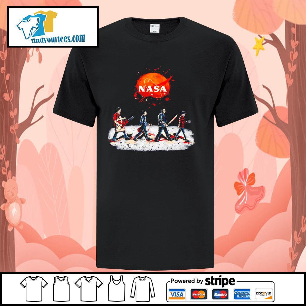Horror characters abbey road Nasa Halloween shirt