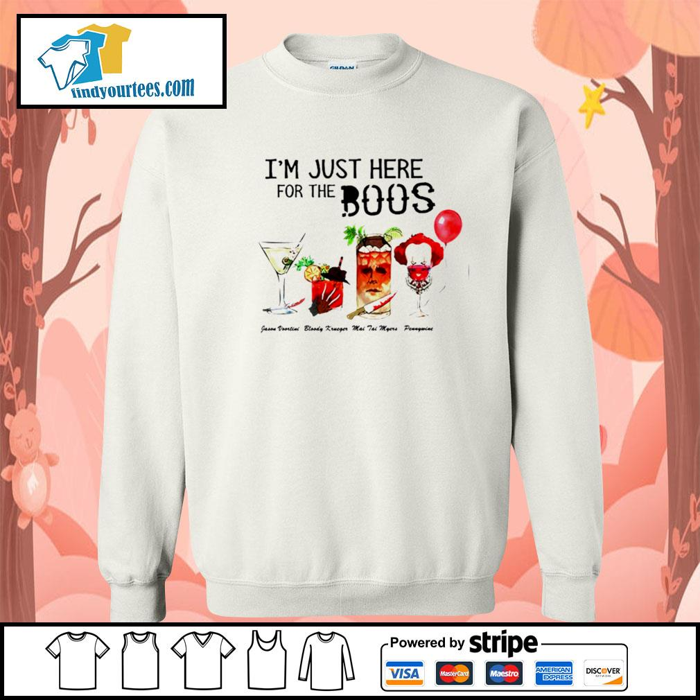 Horror movie characters I'm just here for the boos Halloween s Sweater