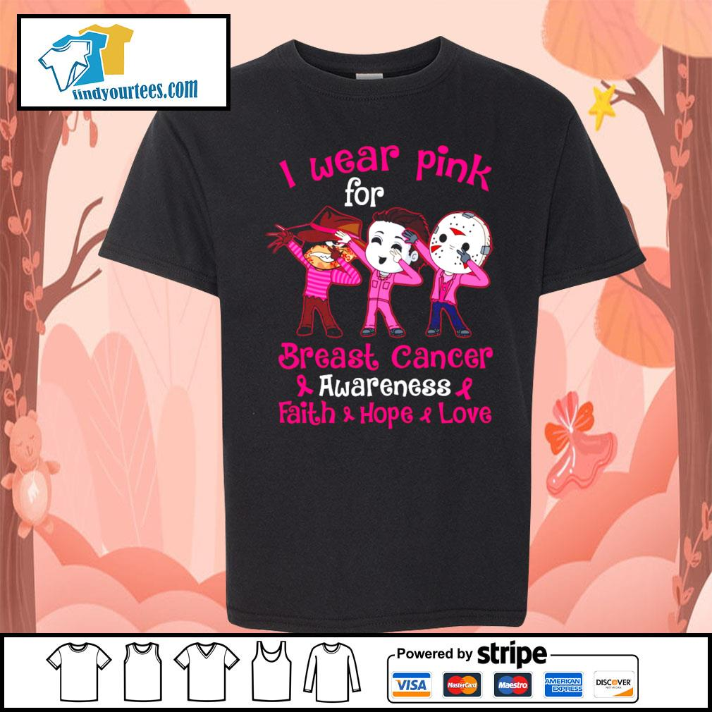 Horror movie characters I wear pink for breast cancer awareness faith hope love s Kid-T-shirt