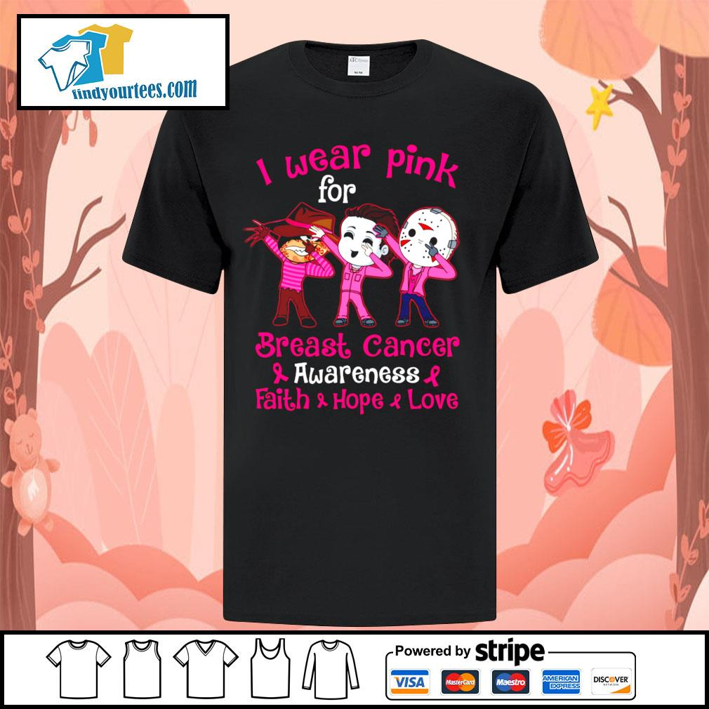 Horror movie characters I wear pink for breast cancer awareness faith hope love shirt