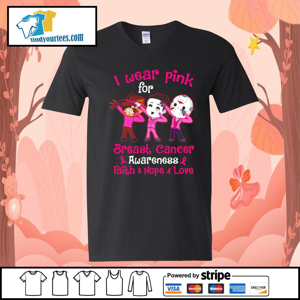 Horror movie characters I wear pink for breast cancer awareness faith hope love s V-neck-T-shirt