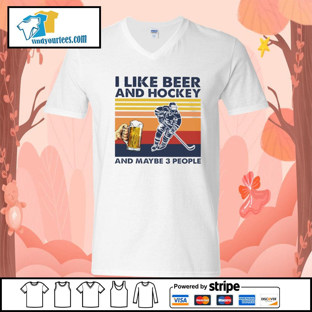 I like beer and hockey and maybe 3 people vintage s V-neck-T-shirt