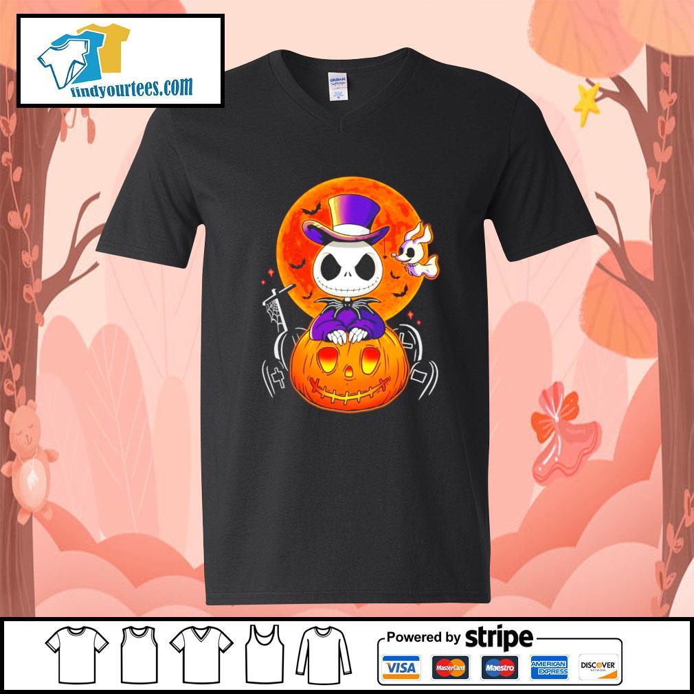 Jack Skellington and Zero pumpkin Halloween s V-neck-T-shirt