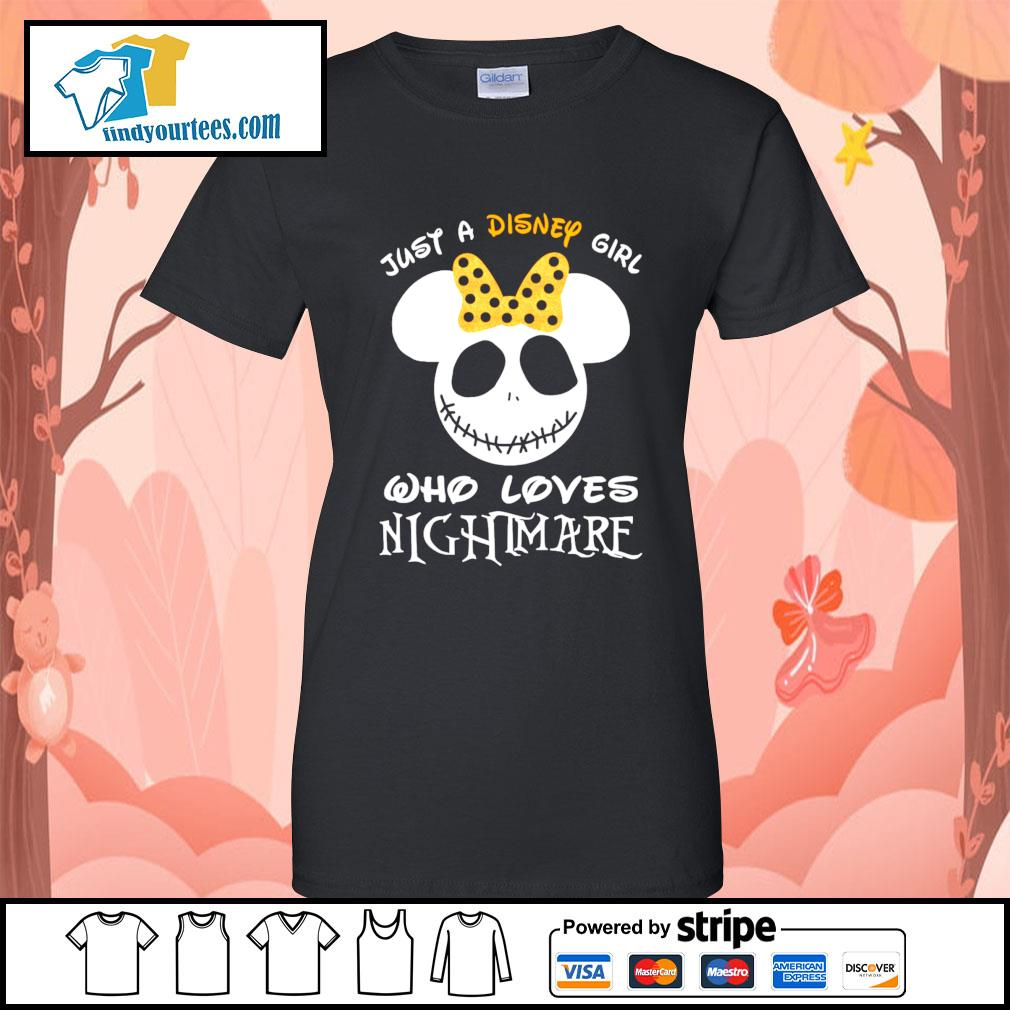 Jack Skellington face just a Disney girl who loves nightmare s Ladies-Tee