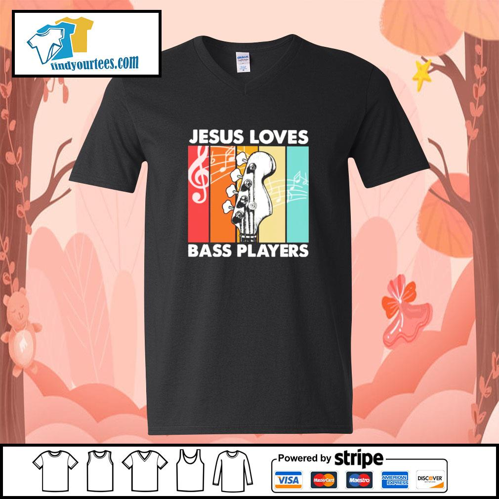 Jesus loves bass players vintage s v-neck-t-shirt