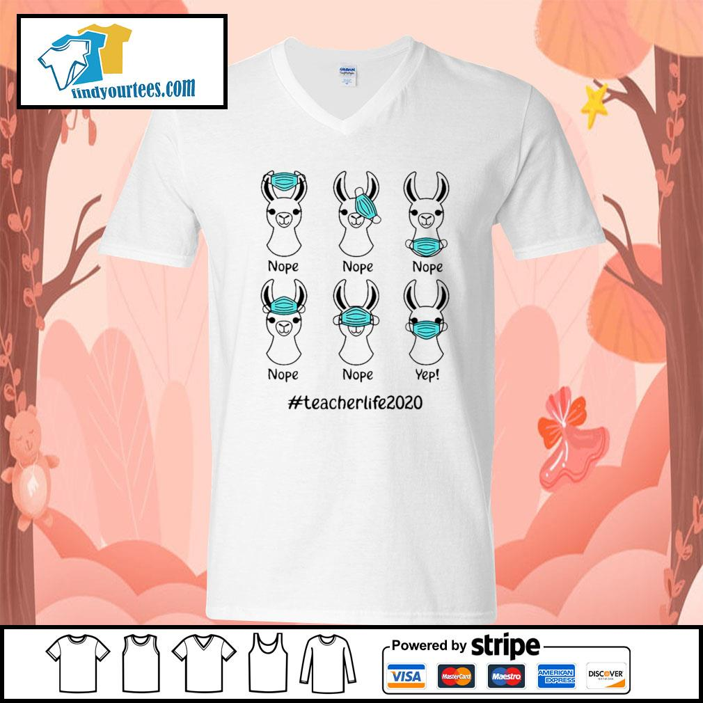 Llama face mask nope #teacherlife 2020 s V-neck-T-shirt